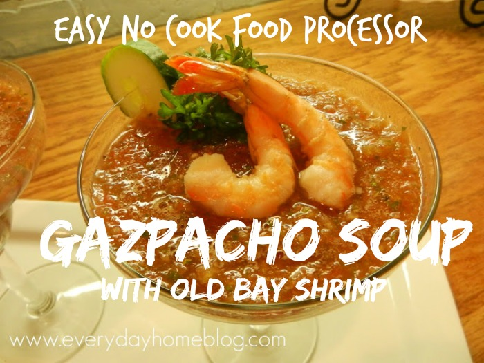 Easy No Cook Food Processor Gazpacho Soup by The Everyday Home #soup #recipe #cooking