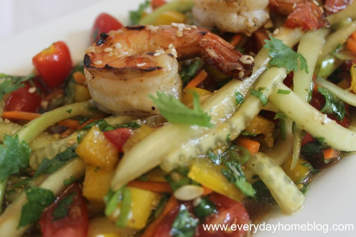 "Thai-Basil Cucumber ""Spaghetti"" with Grilled Sesame Shrimp by The Everyday Home"