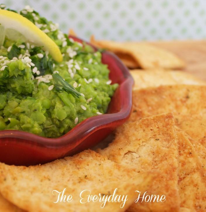 Green Pea Hummus with Garlic Pita Chips at The Everyday Home