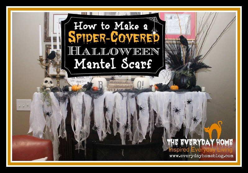 no sew halloween mantel scarf by the everyday home theeverydayhome halloween nosew - Halloween Mantle