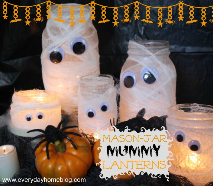 Mason Jar Mummy Lanterns by The Everyday Home  #theeverydayhome  #DIY  #Halloween  #MasonJar  #crafts