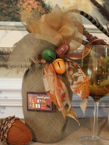 No Sew Burlap and Organza Wine Bottle Wrap by The Everyday Home