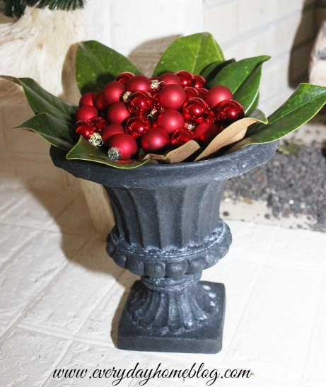 Magnolia and Christmas Ornament-filled Urn by The Everyday Home