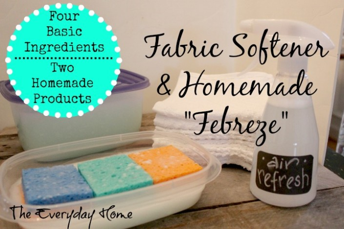 """Recipes for Homemade Fabric Softener and """"Febreze"""" Air Freshener by The Everyday Home #DollarStore #homemadeproducts #goinggreen"""