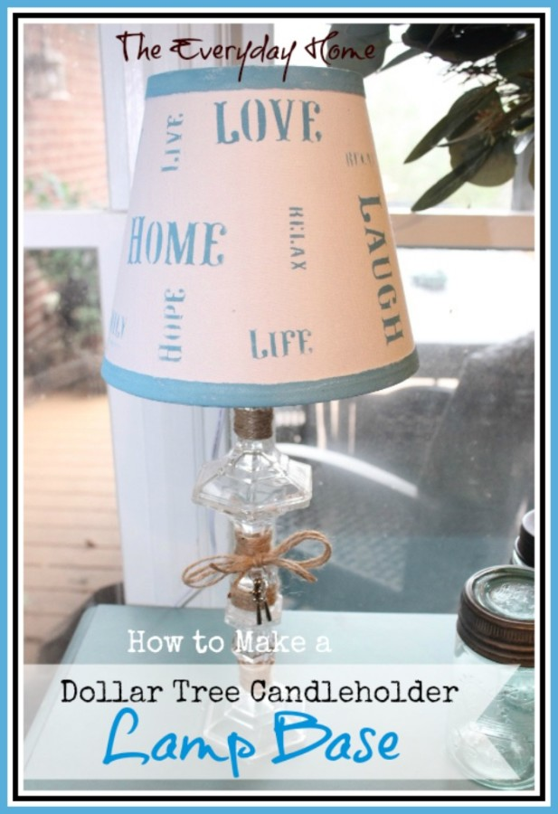 Dollar Store Candleholder Lamp Base by The Everyday Home - Great Dollar Store Challenge  #DollarStoreChallenge #DollarStore #MarthaStewart #Michaels #Lowes
