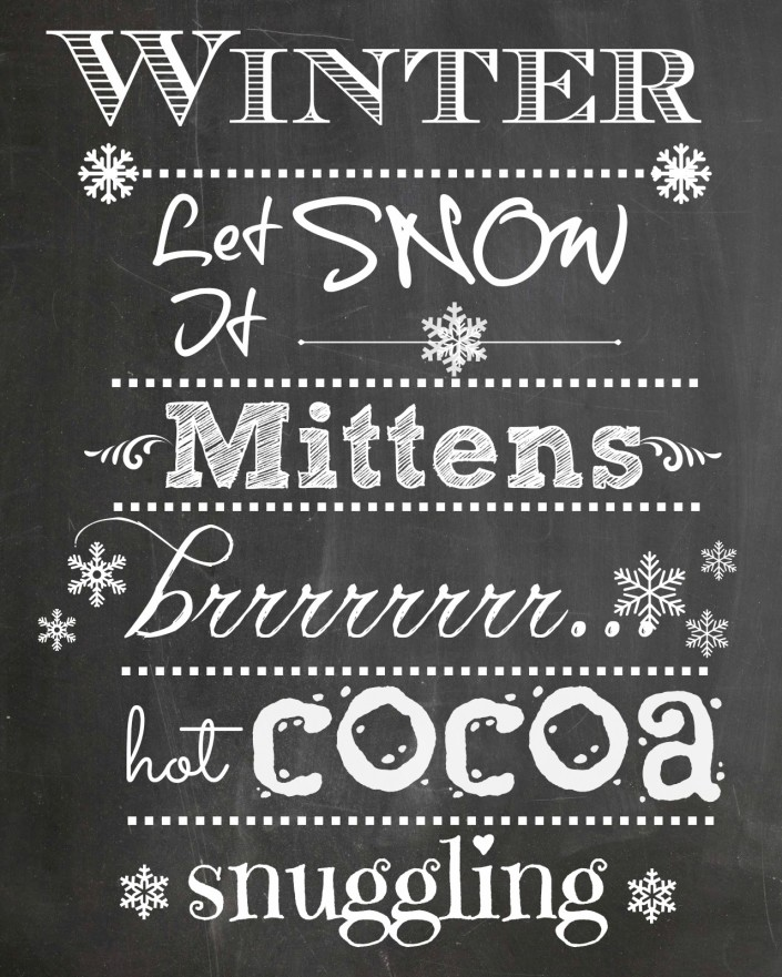 """WINTER"" - FREE Chalkboard Printable by The Everyday Home Blog"