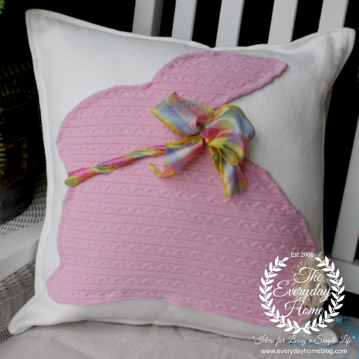 No Sew Sweater Bunny Pillow by The Everyday Home #thinkspring #IKEA #thrifting #Sweaterprojects #pillows #spring #bunny