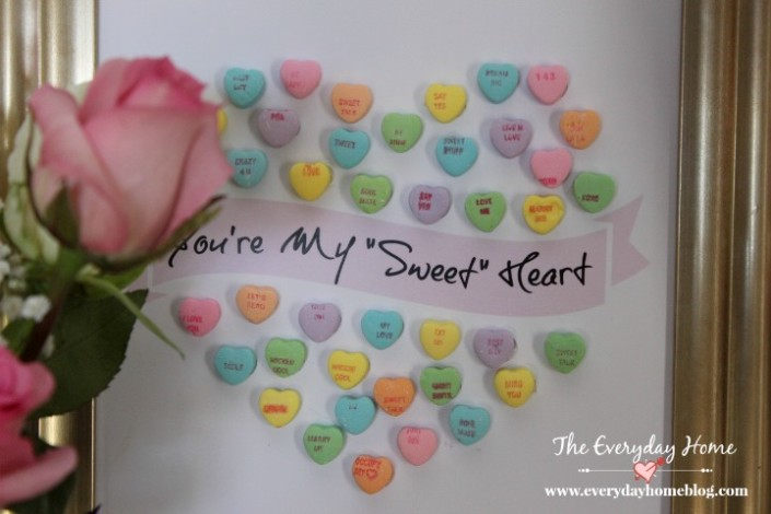 How to Create Sweetheart Art with Candy | The Everyday Home | www.everydayhomeblog.com