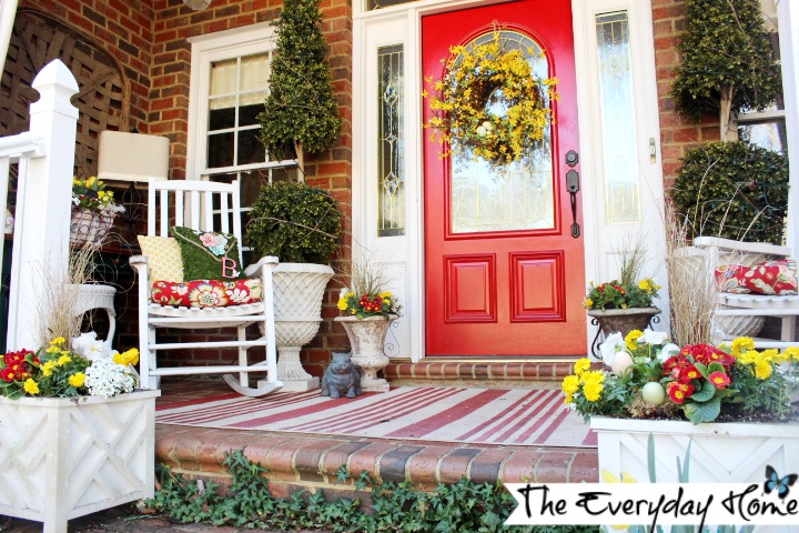 Front Porch Decorated for Spring at The Everyday Home