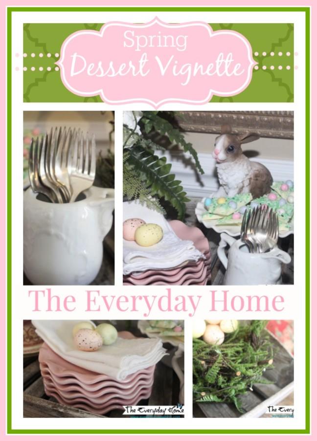 Spring Dessert Vignette by The Everyday Home #Spring #Easter #Vignette #Dessert #DollarTree #Pier1