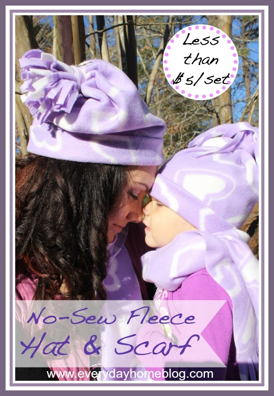 No Sew Winter Hat and Scarf by The Everyday Home #nosew #craft  #project #fashion #DIY #winter