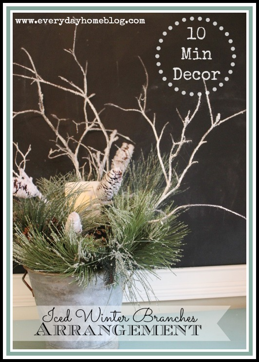 This easy and inexpensive Winter Arrangement would be welcome decor to a dull After-Christmas home, at The Everyday Home.