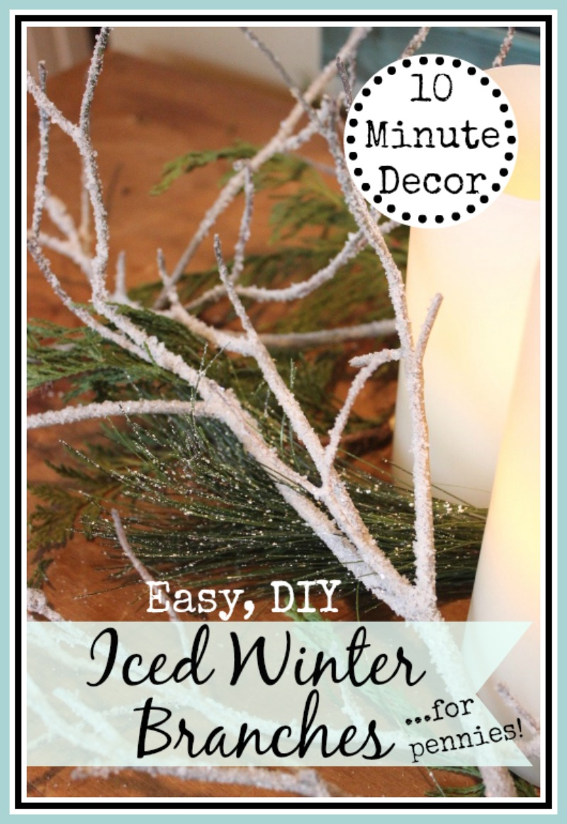 Easy, DIY Iced Winter Branches for Pennies (or free!) from The Everyday Home  #crafts #winterprojects #easy #DIY #Winter