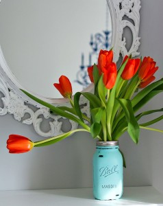 Painted Mason Jar Tulip Vase - It All Started with Paint- Inspired by Spring Blog Hop at The Everyday Home