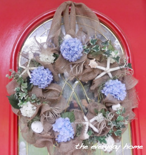 Burlap and Seashell Wreath by The Everyday Home  www.everydayhomeblog.com