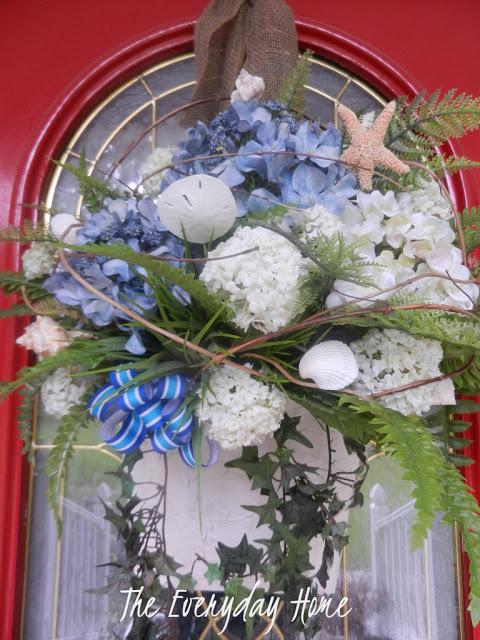 Hydrangea and Seashell Door Basket by The Everyday Home | www.everydayhomeblog.com