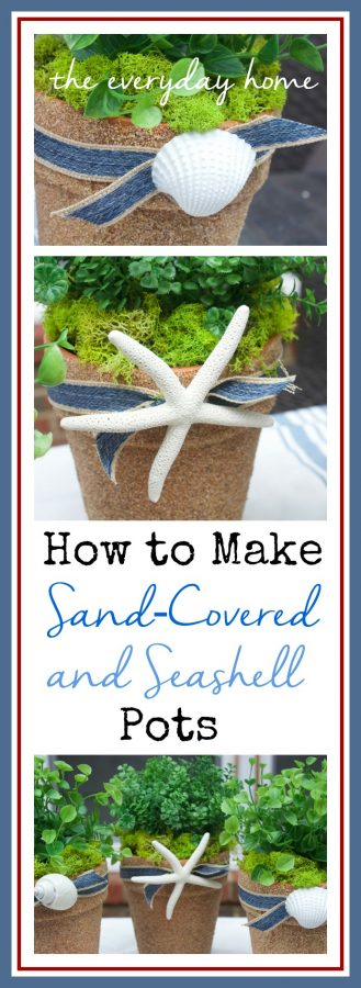 How to Cover Terra Cotta Pots in Sand by The Everyday Home  www.everydayhomeblog.com