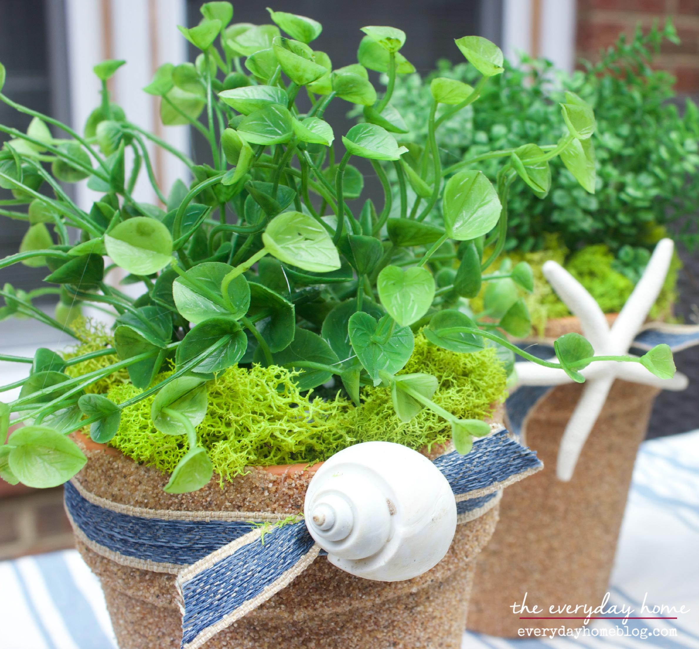 Nautical Shell Pots by The Everyday Home  www.everydayhomeblog.com