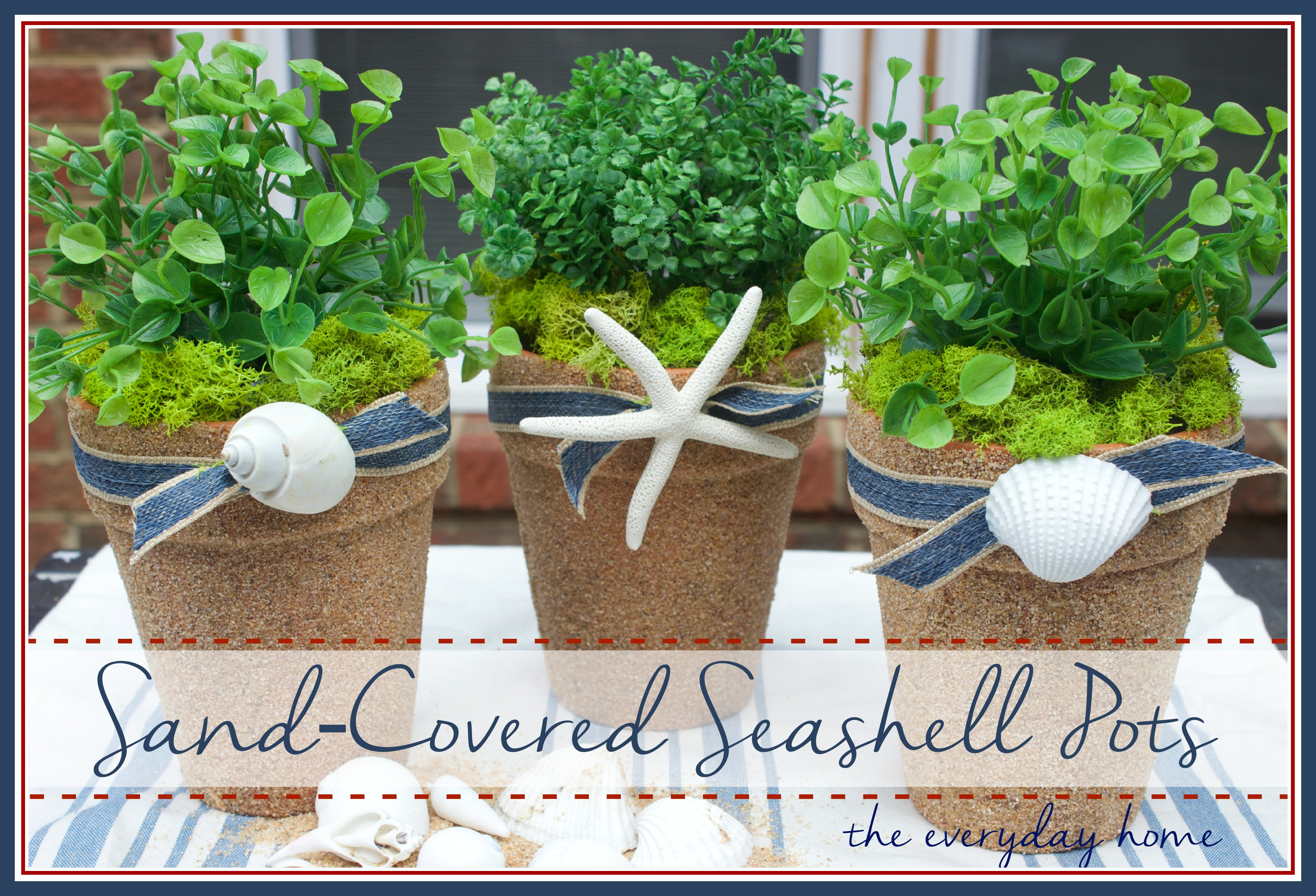 Seashell and Sand Pots by The Everyday Home |  www.everydayhomeblog.com