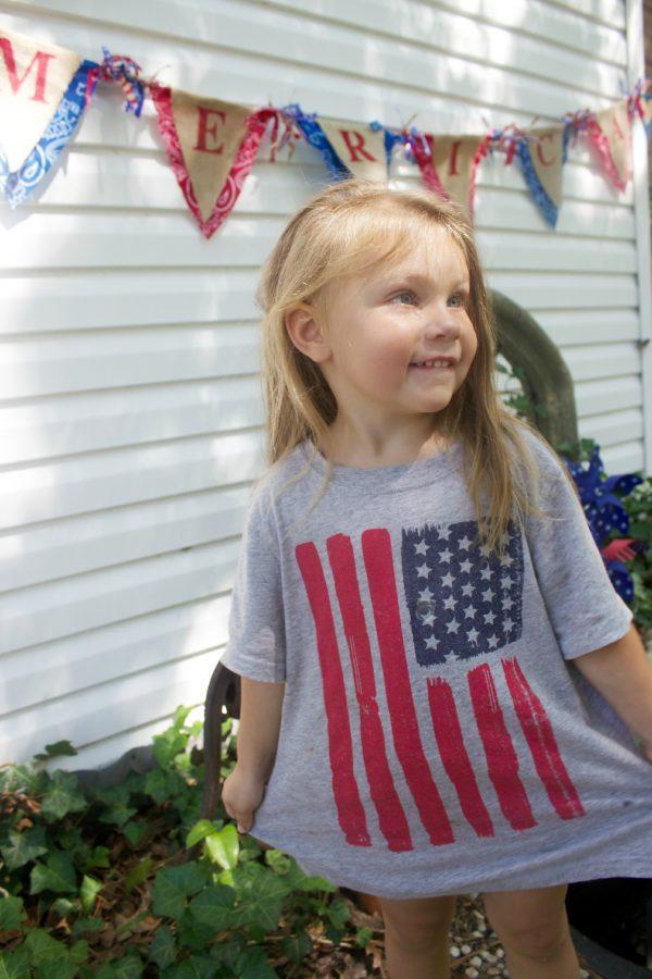 Granddaughter Wearing a Flag Shirt