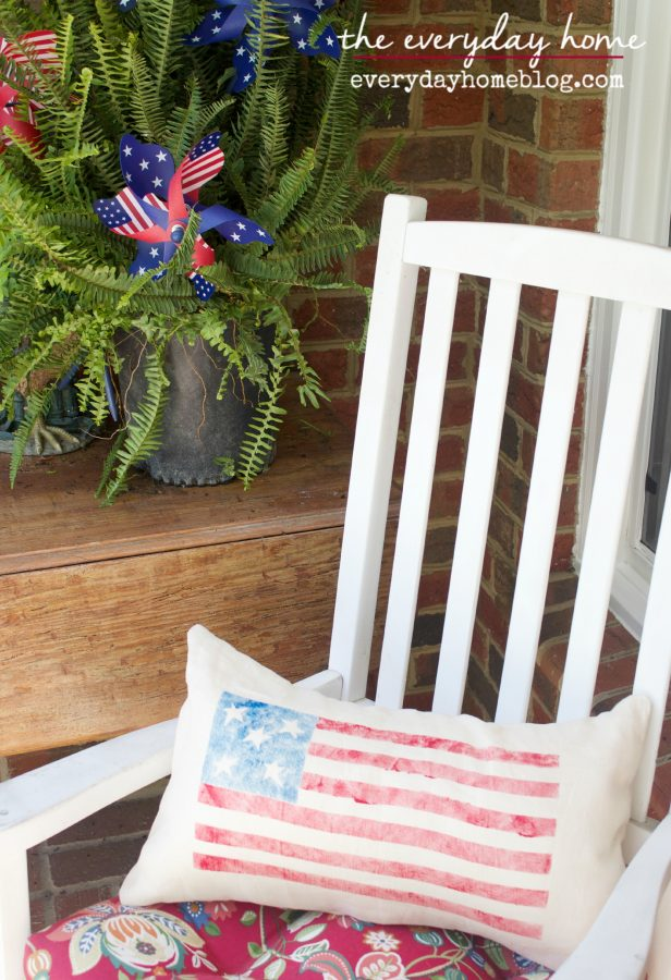 PB-Inspired Stenciled Flag Pillow by The Everyday Home    www.everydayhomeblog.com