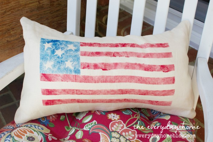Pottery Barn Inspired Flag Pillow  by The Everyday Home  www.everydayhomeblog.com
