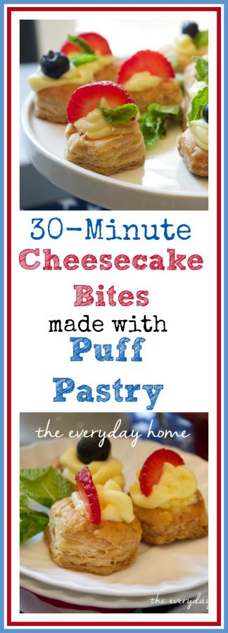 Puff Pastry CHeesecake Bites by The Everyday Home  www.everydayhomeblog.com