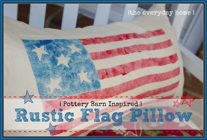 Stenciled Flag Pillow by The Everyday Home www.everydayhomeblog.com