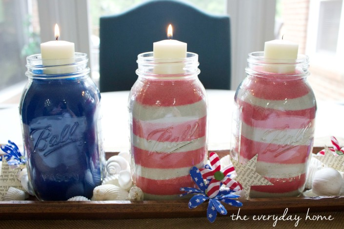How to Make July 4th Jars with Sand | The Everyday Home |  www.everydayhomeblog.com