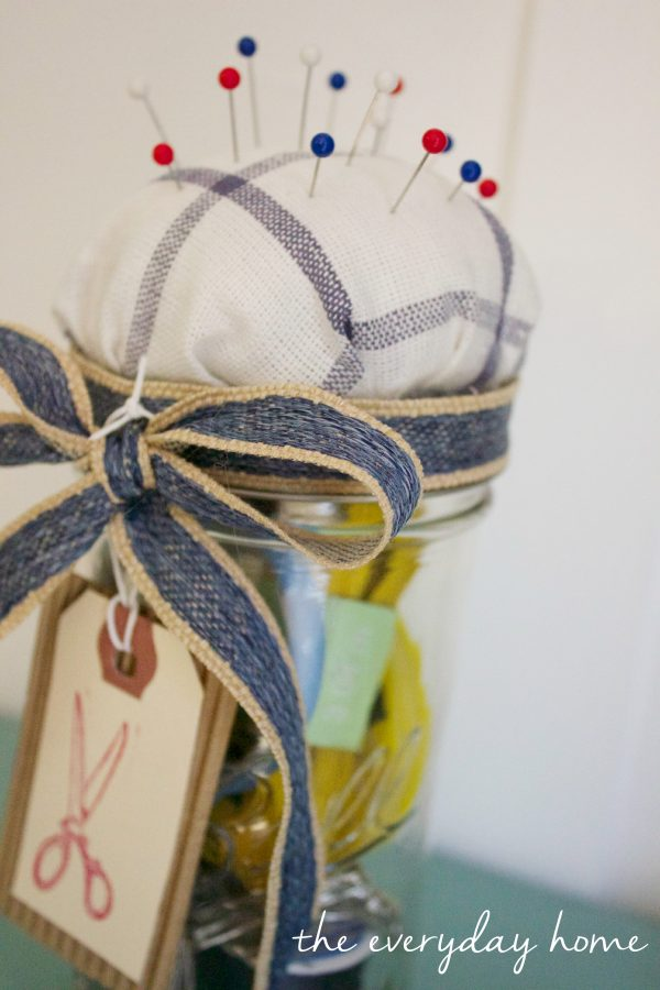 How to Make a Mason Jar Pin Cushion and Sewing Kit |  The Everyday Home |  www.everydayhomeblog.com