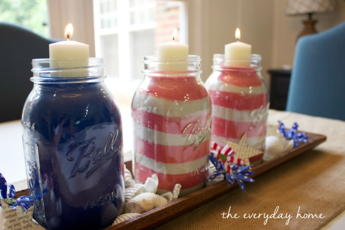 July 4th Jars with Flag Design | The Everyday Home |  www.everydayhomeblog.com