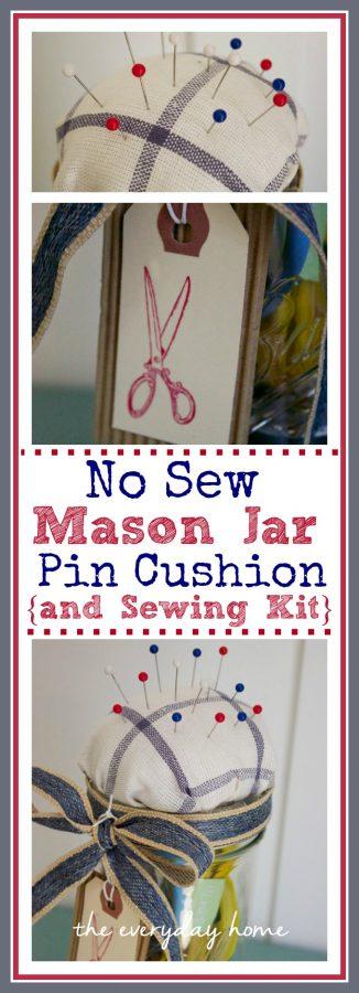 Mason Jar Sewing Kit and Pin Cushion | The Everyday Home | www.everydayhomeblog.com