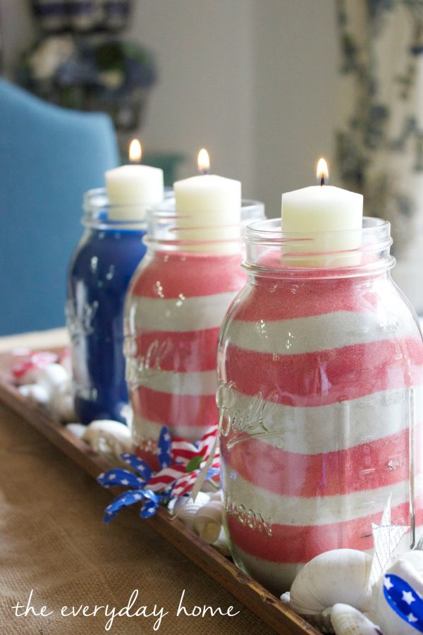 Patriotic July 4th Jars  |The Everyday Home | www.everydayhomeblog.com