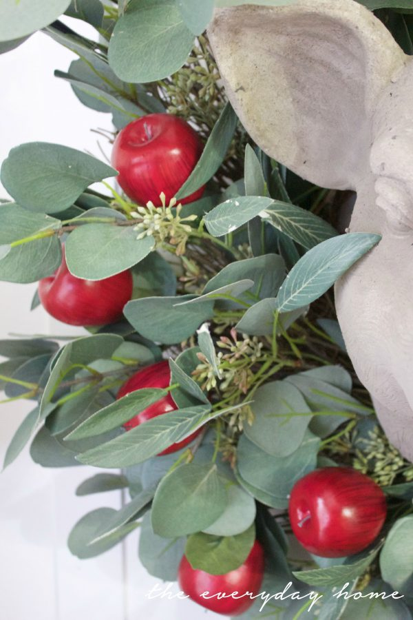 Adding Red Apples to a Plain Wreath | The Everyday Home | www.everydayhomeblog.com