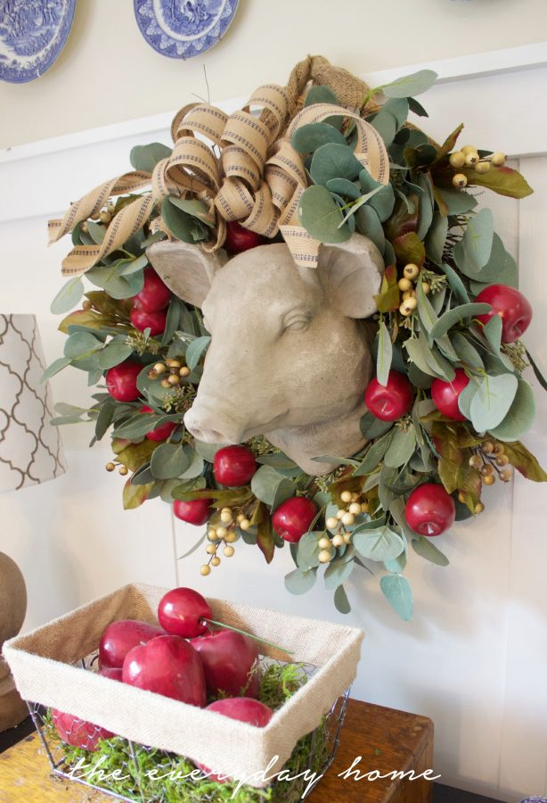 Apple Berry Wreath and Basket   The Everyday Home   www.everydayhomeblog.com