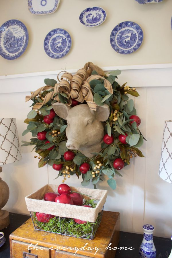 Apple Berry Wreath in the Breakfast Room | The Everyday Home | www.everydayhomeblog.com