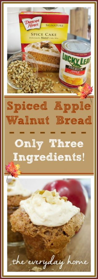 Apple Walnut Bread Recipe | Only Three Ingredients! | The Everyday Home | www.everydayhomeblog.com