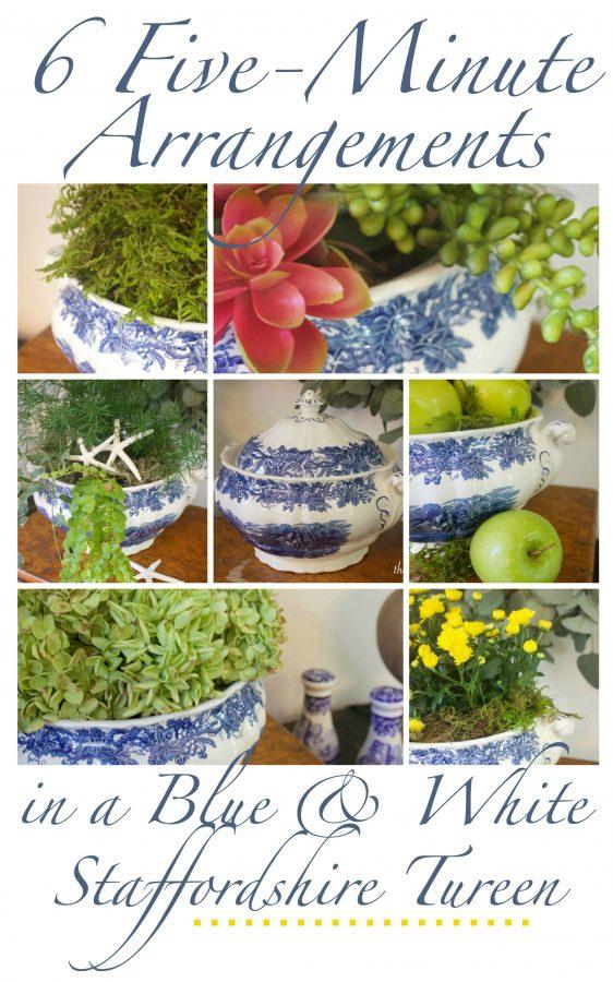 Blue & White Bowl Arrangements | The Everyday Home | www.everydayhomeblog.com