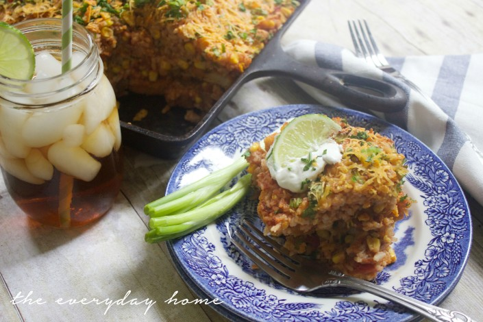 Cheesy Rice and Chicken Skillet Recipe | The Everyday Home |  www.everydayhomeblog.com
