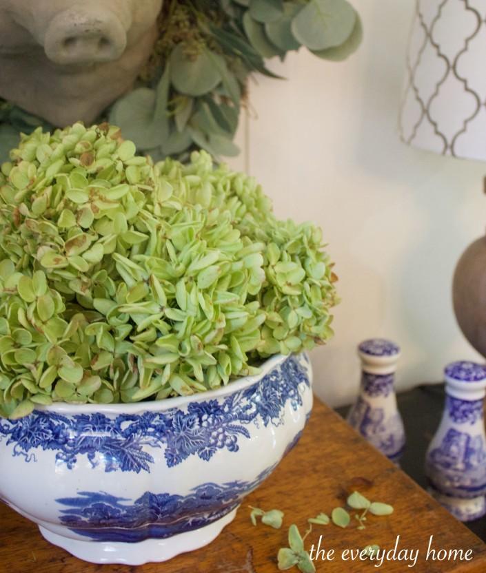 Dried Green Hydrangeas in Blue English Bowl | The Everyday Home | www.everydayhomeblog.com