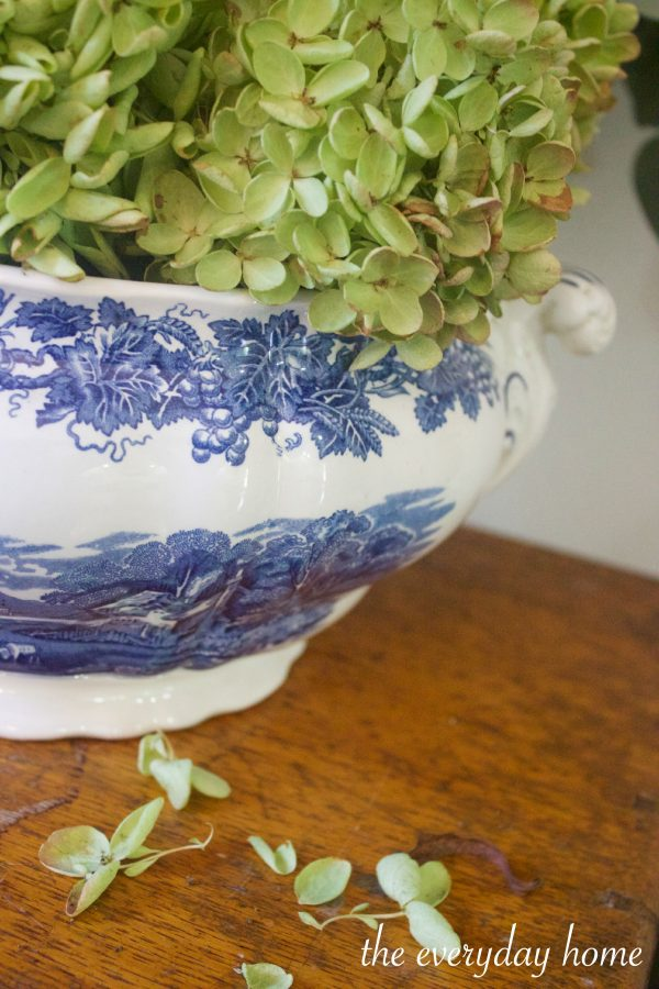 Dried Hydrangeas in Blue Bowl | The Everyday Home | www.everydayhomeblog.com