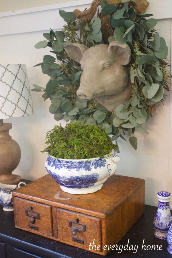 Green Moss in Blue Bowl   The Everyday Home   www.everydayhomeblog.com