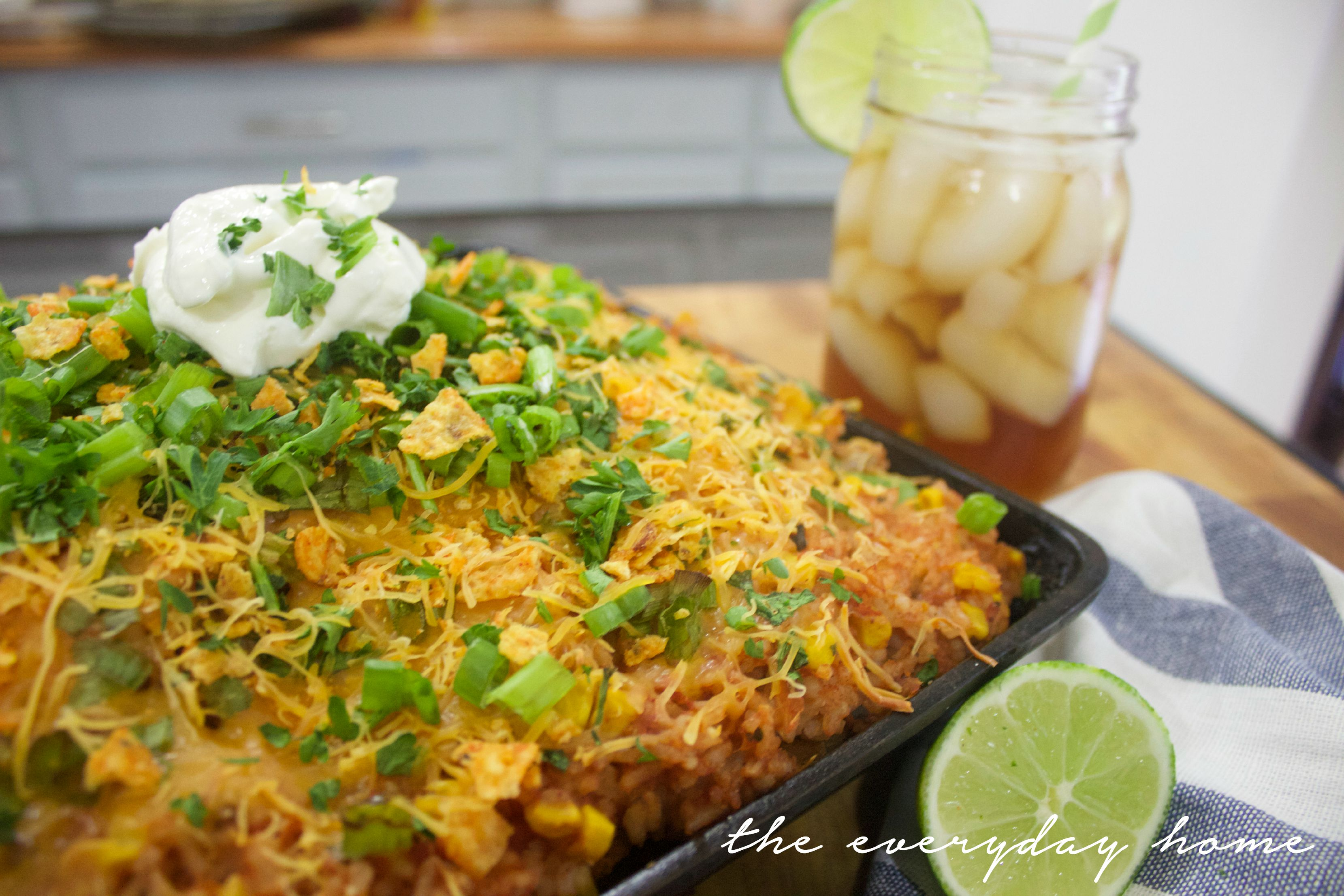 Mexi Cheesy Rice and Chicken Skillet | The Everyday Home |  www.everydayhomeblog.com
