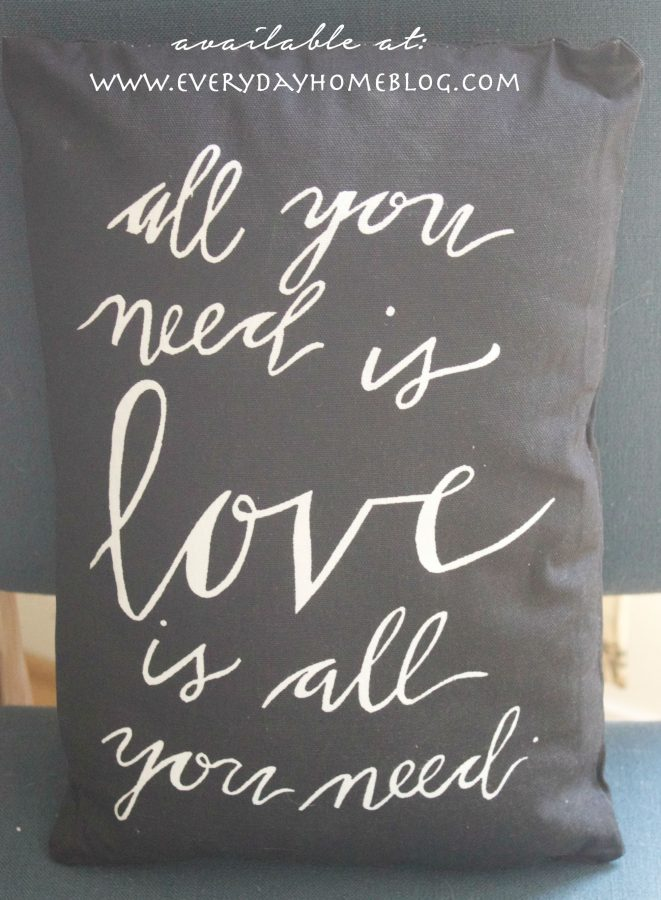 all you need is love pillow | Available at The Everyday Home Blog |  www.everydayhomeblog.com