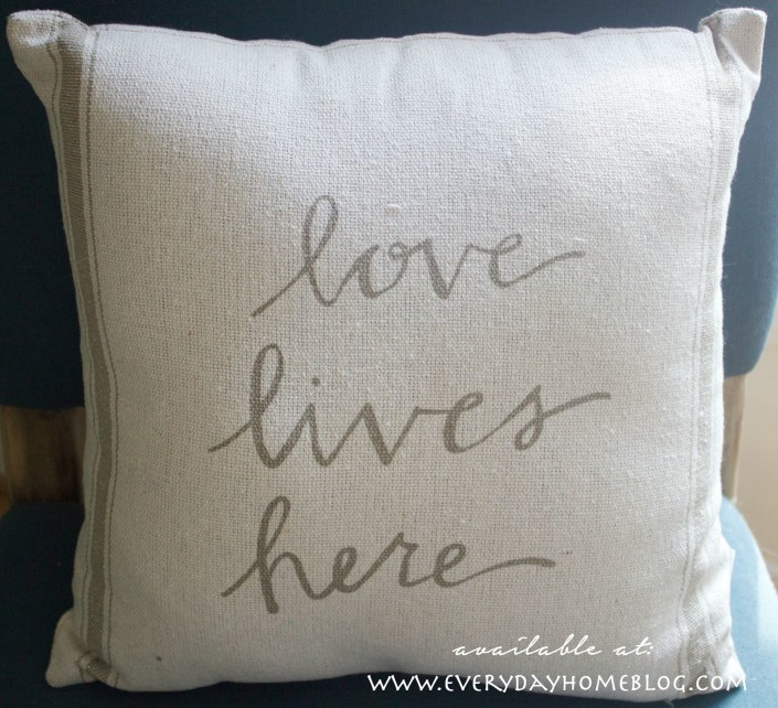 love lives here pillow | Available at The Everyday Home |  www.everydayhomeblog.com