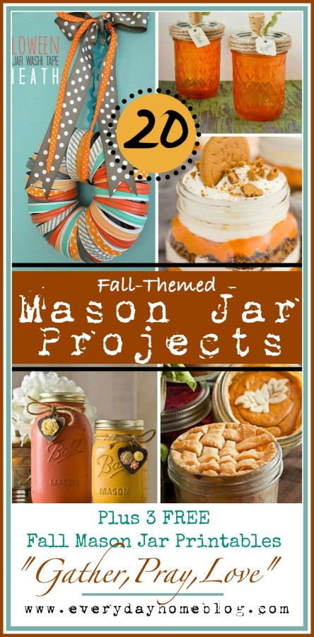 20 Fall Themed Mason Jar Projects The Everyday Home www.everydayhomeblog.com