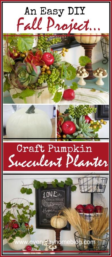 An Easy Fall Project Craft Pumpkin Succulent Planter | The Everyday Home | www.everydayhomeblog.com