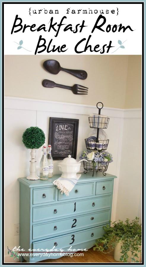 Breakfast Room Blue Chest | The Everyday Home | www.everydayhomeblog.com