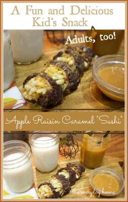 Caramel Apple and Raisin Sushi | The Everyday Home | www.everydayhomeblog.com
