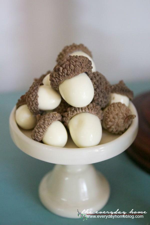Mini Acorns on a Cupcake Stand | The Everyday Home | www.everydayhomeblog.com